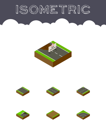 unilateral: Isometric Way Set Of Upwards, Footpath, Without Strip And Other Vector Objects Illustration
