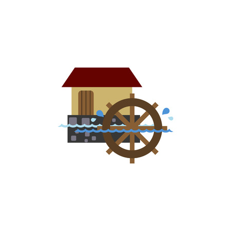 watermill: Isolated Watermill Flat Icon. Wheel Vector Element Can Be Used For Watermill, Wheel, Waterwheel Design Concept. Illustration