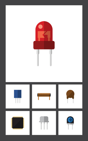 transducer: Flat Icon Electronics Set Of Resist, Bobbin, Transducer And Other Vector Objects. Also Includes Cpu, Fiildistor, Electronics Elements. Illustration