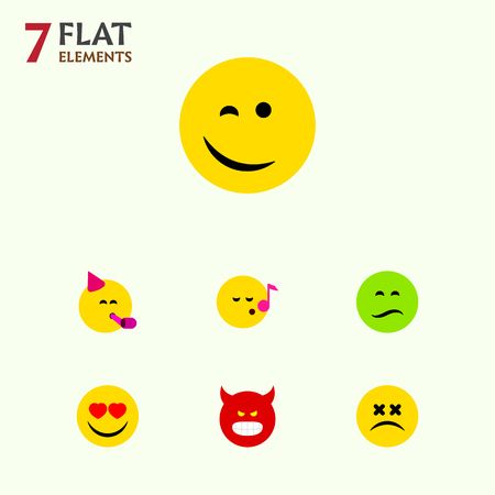 Flat Icon Emoji Set Of Pouting, Winking, Party Time Emoticon And Other Vector Objects. Also Includes Party, Frown, Dizzy Elements. Illustration