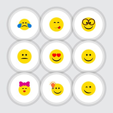 Flat Icon Emoji Set Of Pleasant, Winking, Caress And Other Vector Objects. Also Includes Joy, Emoji, Pleasant Elements. Illustration