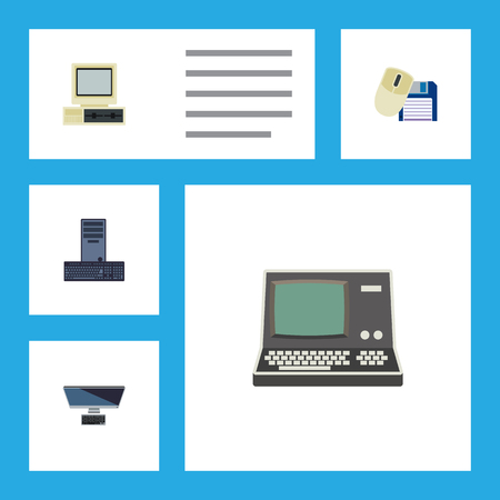 computerized: Flat Icon Computer Set Of Processor, Computer Mouse, PC And Other Vector Objects. Also Includes Keyboard, Mouse, Vintage Elements.