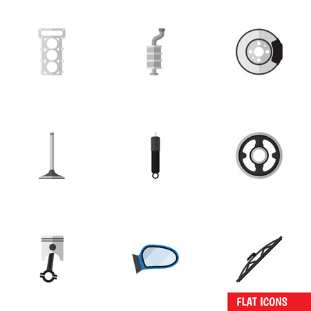 back belt: Flat Icon Parts Set Of Metal, Car Segment, Silencer And Other Vector Objects. Also Includes Disk, Pulley, Combustion Elements.