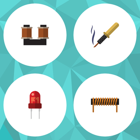 Flat Icon Appliance Set Of Bobbin, Recipient, Coil Copper And Other Vector Objects. Also Includes Copper, Iron, Recipient Elements. Illustration