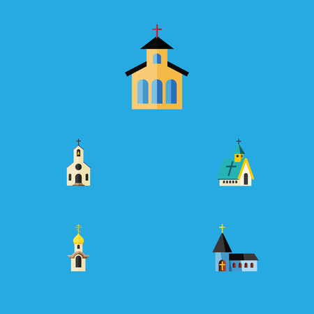 Flat Icon Church Set Of Structure, Building, Architecture And Other Vector Objects. Also Includes Religious, Traditional, Architecture Elements.
