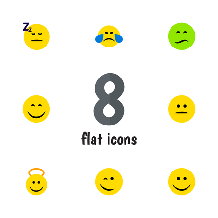 Flat Icon Emoji Set Of Angel, Asleep, Frown And Other Vector Objects. Also Includes Angel, Happy, Emoji Elements. Illustration