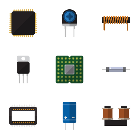 Flat Icon Device Set Of Mainframe, Resistor, Cpu And Other Vector Objects. Also Includes Transducer, Central, Unit Elements.