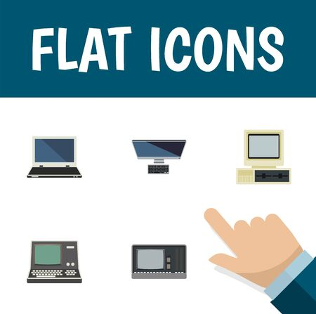 computerized: Flat Icon Laptop Set Of Computer, PC, Technology And Other Vector Objects. Also Includes Notebook, Personal, Laptop Elements.
