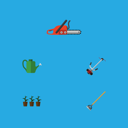 Flat Icon Farm Set Of Hacksaw, Flowerpot, Grass-Cutter And Other Vector Objects. Also Includes Lawn, Botany, Flowerpot Elements.