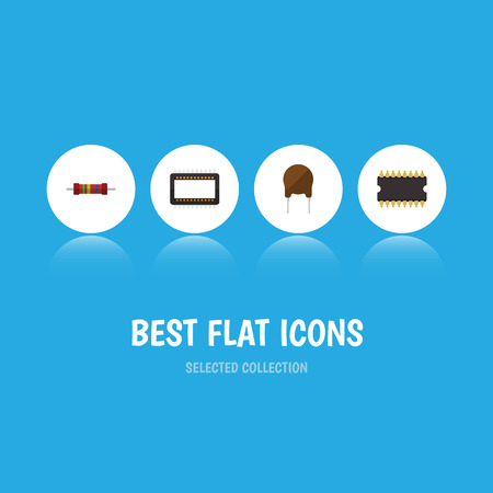 Flat Icon Electronics Set Of Triode, Microprocessor, Mainframe And Other Vector Objects. Also Includes Electronics, Unit, Mainframe Elements.