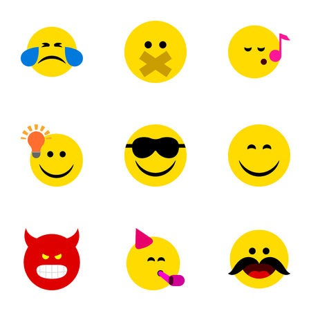 misunderstanding: Flat Icon Emoji Set Of Hush, Pouting, Descant And Other Vector Objects. Also Includes Joy, Whiskers, Emoji Elements.