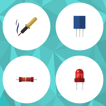 recipient: Flat Icon Device Set Of Recipient, Receptacle, Resistance And Other Vector Objects. Also Includes Recipient, Soldering, Resistor Elements.
