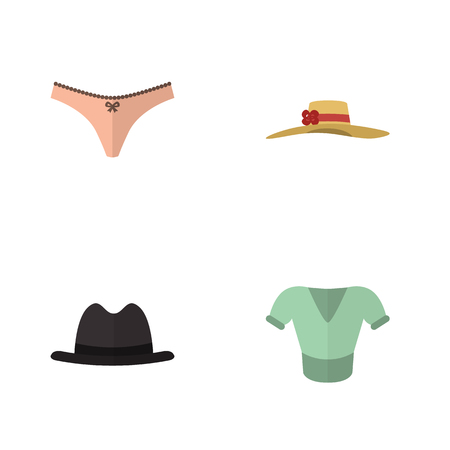 Flat Icon Clothes Set Of Casual, Panama, Lingerie And Other Vector Objects. Also Includes Panties, Hat, Lingerie Elements. Illustration