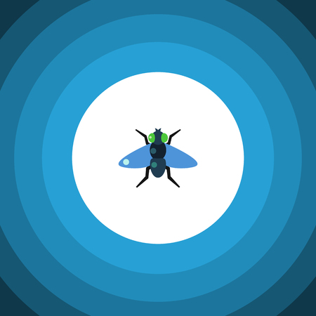 Isolated Bluebottle Flat Icon. Dung Vector Element Can Be Used For Dung, Fly, Bluebottle Design Concept. Illustration