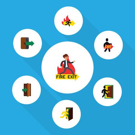 evacuacion: Conjunto de emergencia plana icono de salida, evacuación, salida de incendios y otros objetos vectoriales. También incluye salida, evacuación, elementos de fuego. Vectores