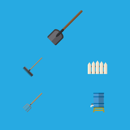 Flat Icon Farm Set Of Container, Shovel, Hay Fork And Other Vector Objects. Also Includes Tank, Fence, Rake Elements.