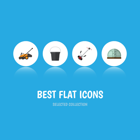 Flat Icon Farm Set Of Hothouse, Grass-Cutter, Lawn Mower And Other Vector Objects. Also Includes Pail, Lawn, Hothouse Elements.