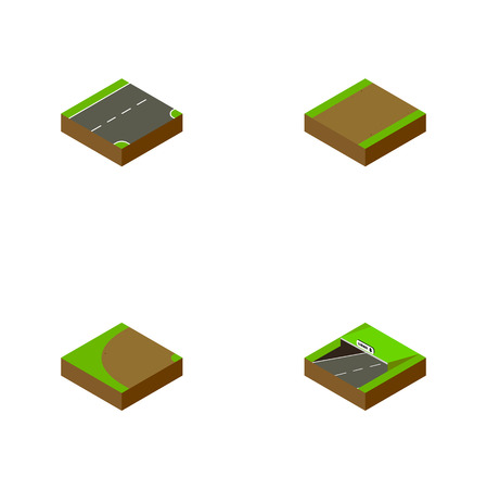 Isometric Road Set Of Footpath, Turning, Subway And Other Vector Objects. Also Includes Downward, Rotation, Turning Elements. Illustration