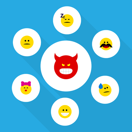 Flat Icon Face Set Of Pouting, Grin, Displeased And Other Vector Objects. Also Includes Kiss, Emoji, Face Elements.