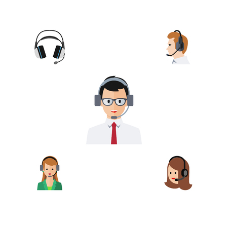 Flat Icon Telemarketing Set Of Secretary, Help, Service And Other Vector Objects. Also Includes Hotline, Earphone, Online Elements.