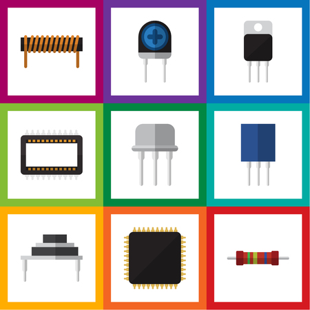 Flat Icon Device Set Of Cpu, Mainframe, Receptacle And Other Vector Objects. Also Includes Semiconductor, Cpu, Unit Elements.