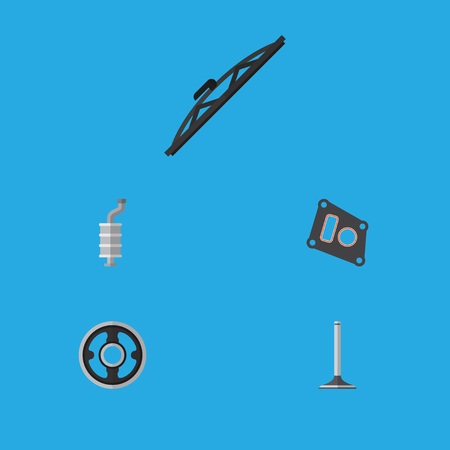 Flat Icon Auto Set Of Car Segment, Windshield, Belt And Other Vector Objects. Also Includes Silencer, Muffler, Car Elements.