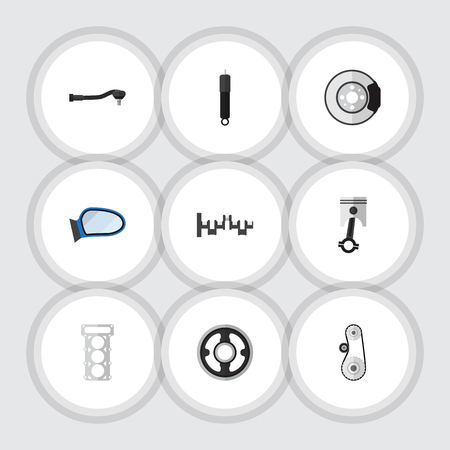 conrod: Flat Icon Component Set Of Cambelt, Auto Component, Belt And Other Vector Objects. Also Includes Piston, Gear, Conrod Elements. Illustration