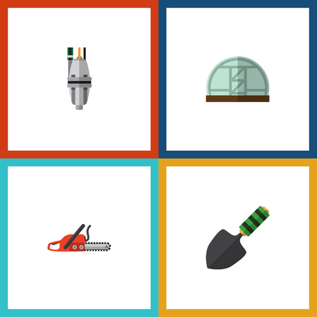 Flat Icon Dacha Set Of Pump, Hacksaw, Hothouse And Other Vector Objects. Also Includes Tool, Hacksaw, Spatula Elements.