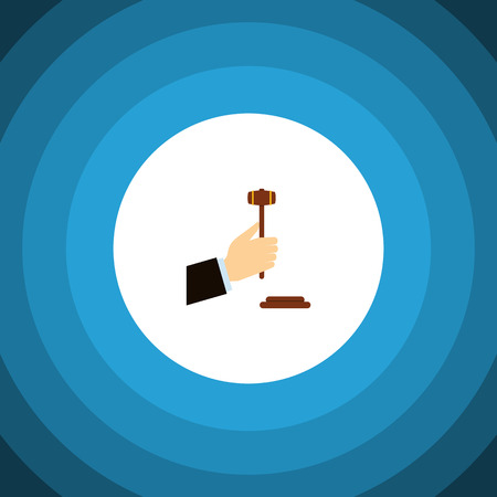 Isolated Legal Flat Icon. Law Vector Element Can Be Used For Law, Legal, Hammer Design Concept.