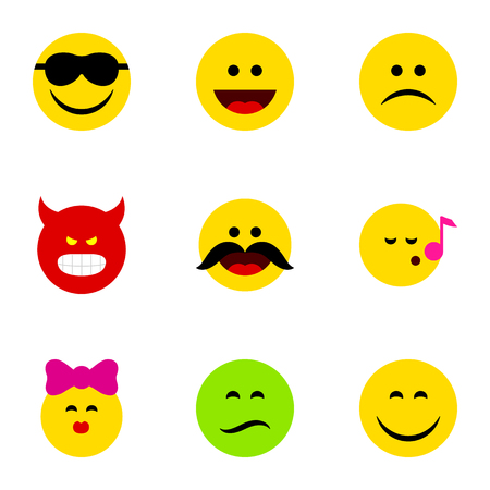 Flat Icon Expression Set Of Caress, Smile, Happy And Other Vector Objects. Also Includes Emoji, Frown, Pouting Elements.