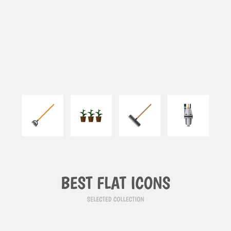 Flat Icon Dacha Set Of Tool, Flowerpot, Harrow And Other Vector Objects. Also Includes Flowerpot, Harrow, Pump Elements.