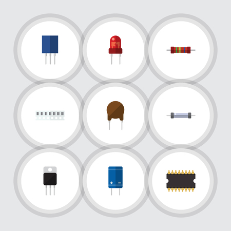 Flat Icon Technology Set Of Microprocessor, Transistor, Resistance And Other Vector Objects. Also Includes Resistor, Receiver, Resistance Elements. Illustration