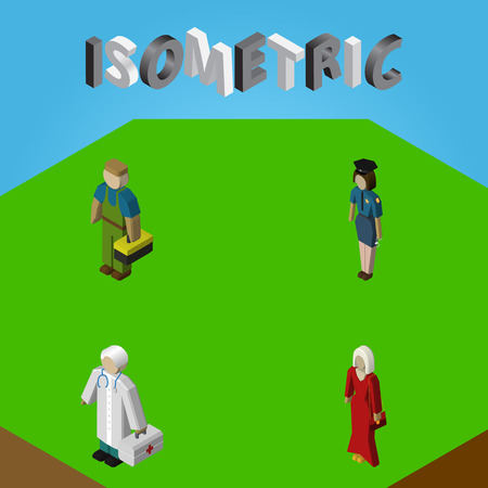 Isometric Human Set Of Plumber, Female, Medic And Other Vector Objects. Also Includes Doctor, Worker, Policewoman Elements.