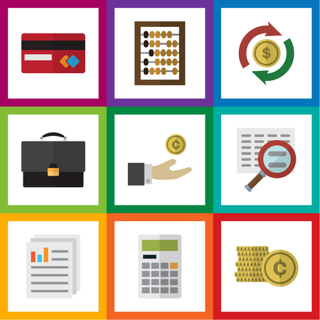 Flat Icon Incoming Set Of Calculate, Interchange, Document And Other Vector Objects. Also Includes Interchange, Diplomat, Exchange Elements.