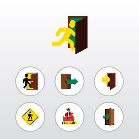 Flat Icon Door Set Of Entry, Entrance, Emergency And Other Vector Objects. Also Includes Directional, Door, Pointer Elements.