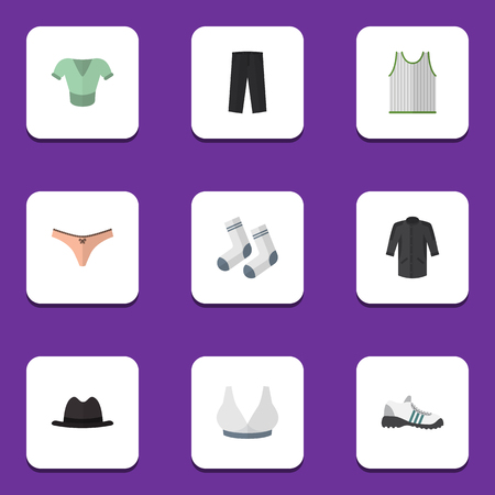 Flat Icon Clothes Set Of Foot Textile, Panama, Casual And Other Vector Objects. Also Includes Clothes, Hat, Sleeveless Elements.