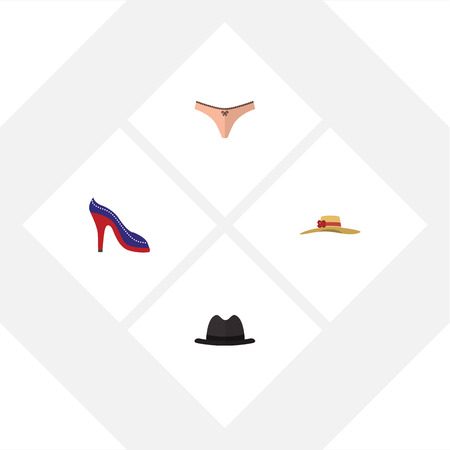 Flat Icon Garment Set Of Panama, Elegant Headgear, Heeled Shoe And Other Vector Objects. Also Includes Woman, Fedora, Underwear Elements.