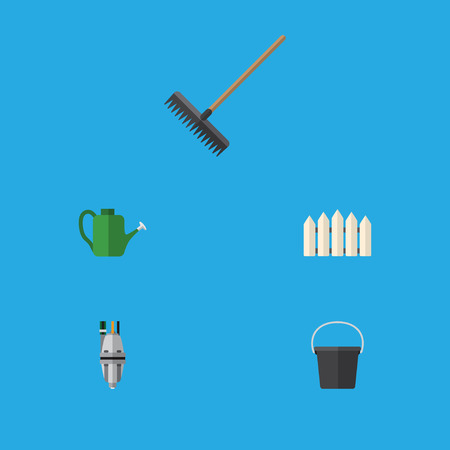 Flat Icon Dacha Set Of Pail, Bailer, Harrow And Other Vector Objects. Also Includes Harrow, Watering, Fence Elements. Illustration