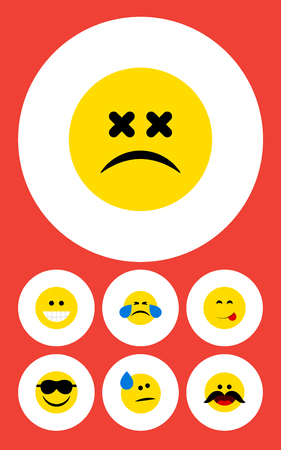 Flat Icon Gesture Set Of Tears, Grin, Cold Sweat And Other Vector Objects. Also Includes Emoticon, Cheerful, Laugh Elements.