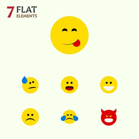 Flat Icon Face Set Of Delicious Food, Tears, Wonder And Other Vector Objects. Also Includes Grin, Confused, Food Elements.