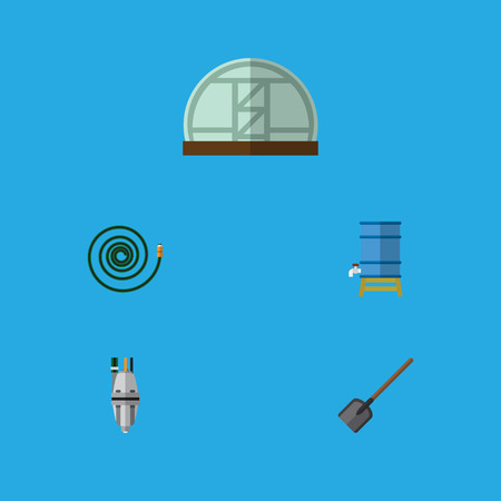 Flat Icon Dacha Set Of Hosepipe, Shovel, Hothouse And Other Vector Objects. Also Includes Garden, Shovel, Pump Elements.