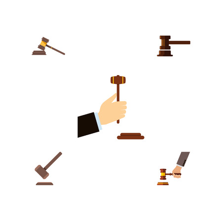 Flat Icon Court Set Of Law, Court, Tribunal And Other Vector Objects. Also Includes Crime, Law, Court Elements. Illustration