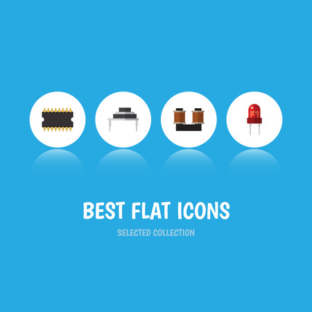 Flat Icon Technology Set Of Microprocessor, Recipient, Destination And Other Vector Objects. Also Includes Resistor, Transducer, Copper Elements. Illustration