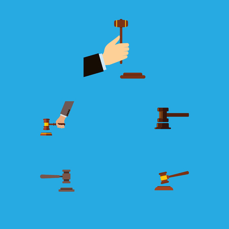 Flat Icon Hammer Set Of Legal, Hammer, Government Building And Other Vector Objects. Also Includes Hammer, Legal, Defense Elements.