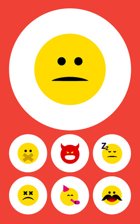 enraged: Flat Icon Gesture Set Of Pouting, Party Time Emoticon, Asleep And Other Vector Objects. Also Includes Displeased, Emoticon, Angry Elements.