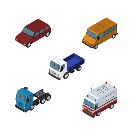 Isometric Transport Set Of Autobus, Truck, Lorry And Other Vector Objects. Also Includes Bus, Lorry, Ambulance Elements.