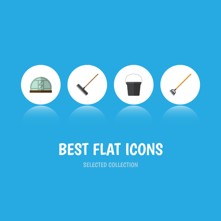 Flat Icon Dacha Set Of Pail, Harrow, Tool And Other Vector Objects. Also Includes Rake, Gardening, Farm Elements. Illustration