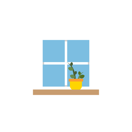 veranda: Isolated Window Flat Icon. Flowerpot Vector Element Can Be Used For Window, Flower, Pot Design Concept. Illustration
