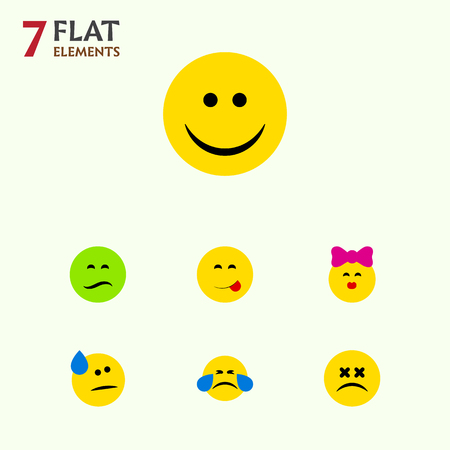 Flat Icon Expression Set Of Cross-Eyed Face, Tears, Cold Sweat And Other Vector Objects. Also Includes Joy, Smile, Emoticon Elements.