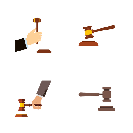 Flat Icon Hammer Set Of Hammer, Crime, Legal And Other Vector Objects. Also Includes Court, Crime, Hammer Elements. Illustration